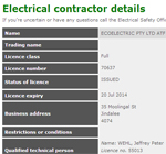 Electrical contractors license